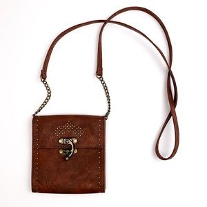 Mossimo brown studded faux leather crossbody bag